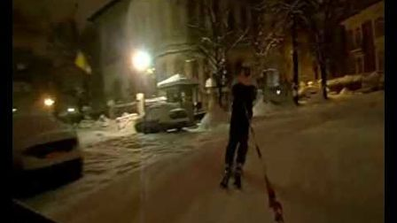 Downtown Bucharest urban skiing